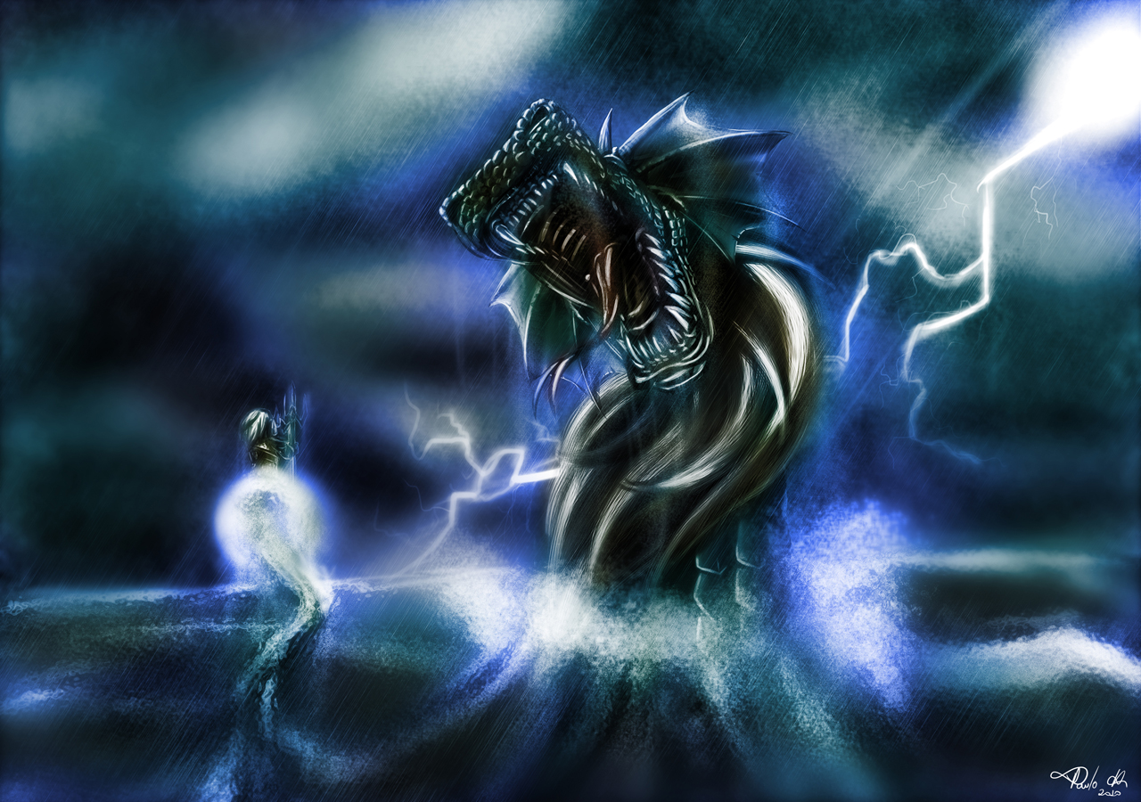 Poseidon Vs Dragon by pauloh-dsign