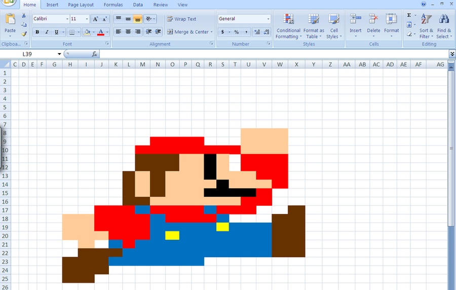 how to make mario in excel