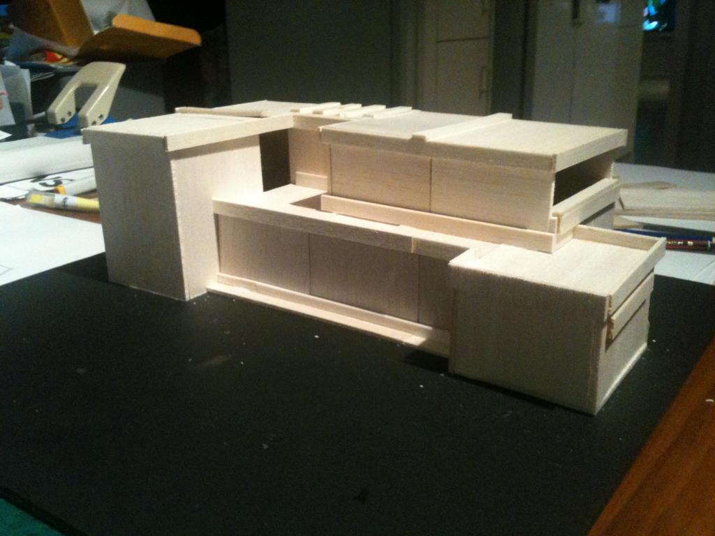 Balsa wood modern house model making by mercedes benz