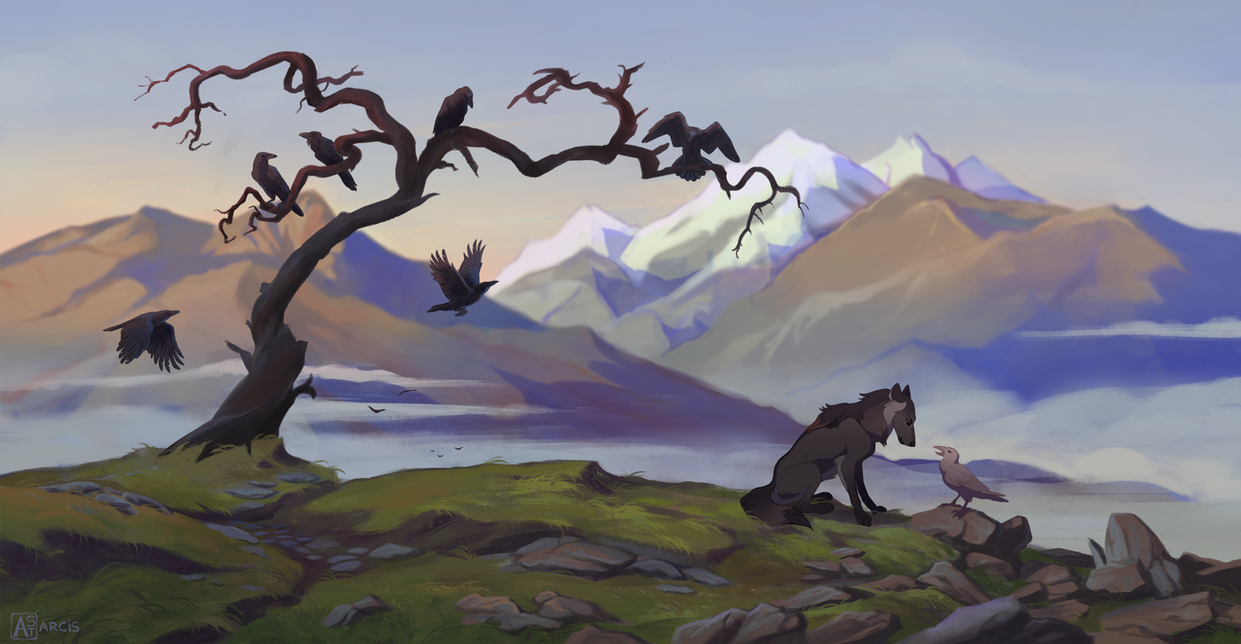 The wolf and his ravens by Astarcis