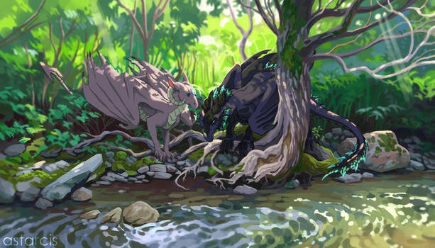 Commission: Two dragons near the river