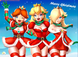 Princesses of Mario Merry Christmas by Didi-Esmeralda