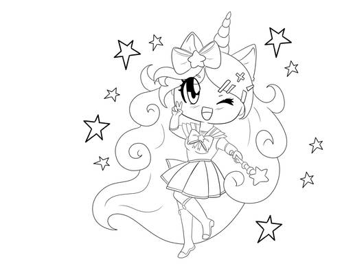 [Free] Magical Girl Unicorn Coloring Page