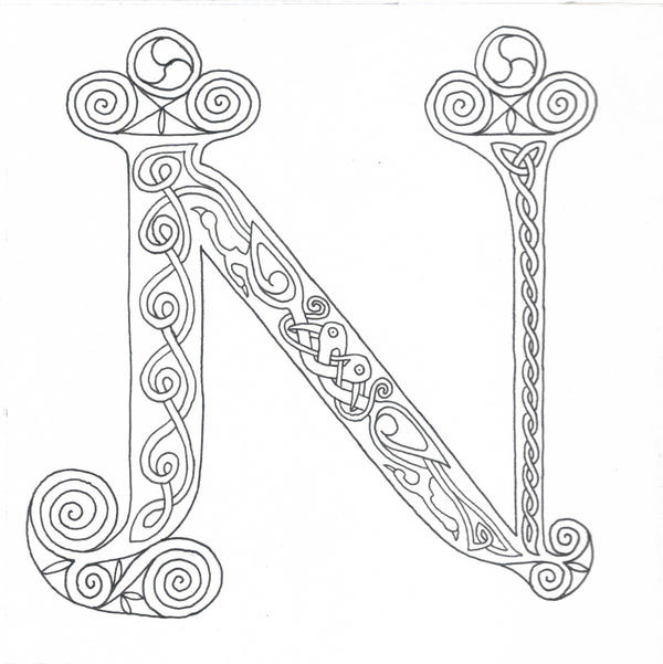 Illuminated n for coloring by robertsloan2 on deviantart for Illuminated alphabet coloring pages