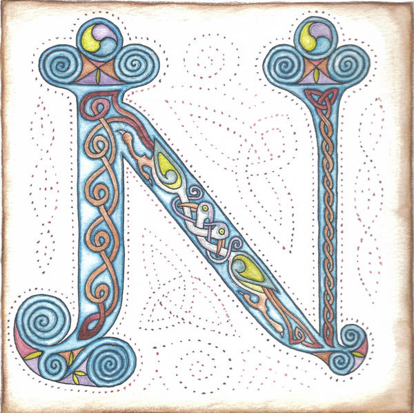 Illuminated Letter N Illuminated letter n by robertsloan2