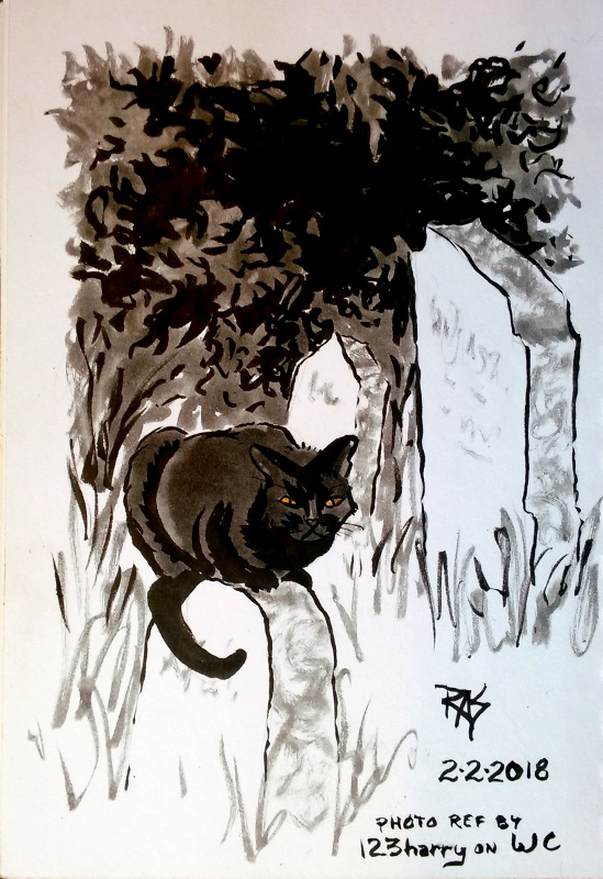 Graveyard Watch black cat by robertsloan2