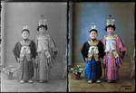 Japanese children in traditional kimonos early 190