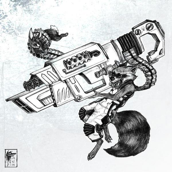 Black Rocket Raccoon by CoyoteCanine