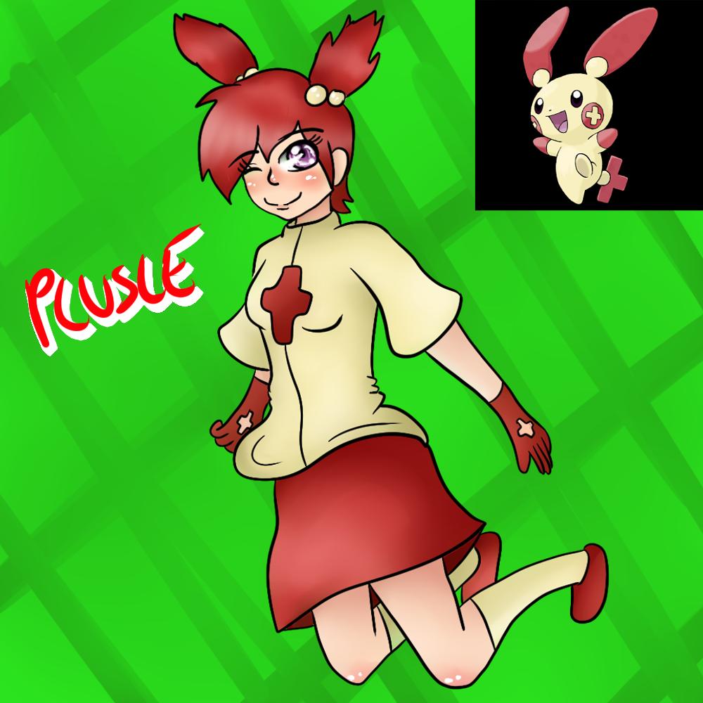Plusle (Gijinka) by Meloewe