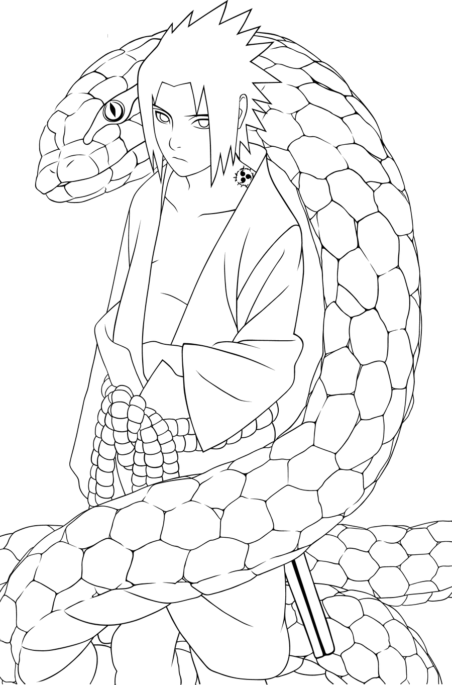Sasuke Lineart : Uchiha sasuke lineart by skurpix on deviantart