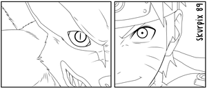 Kurama and Naruto Lineart