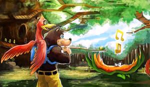 Bear and Bird by The-Keyblade-Pony