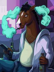 Sad Horse Drinks Alone by The-Keyblade-Pony