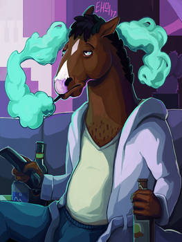 Sad Horse Drinks Alone