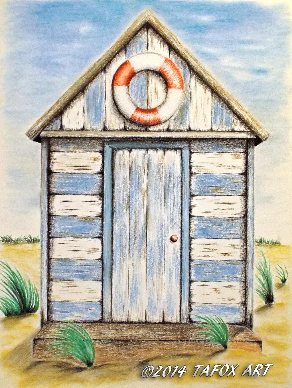 Beach Hut pastel chalks drawing by TAFOXART on DeviantArt