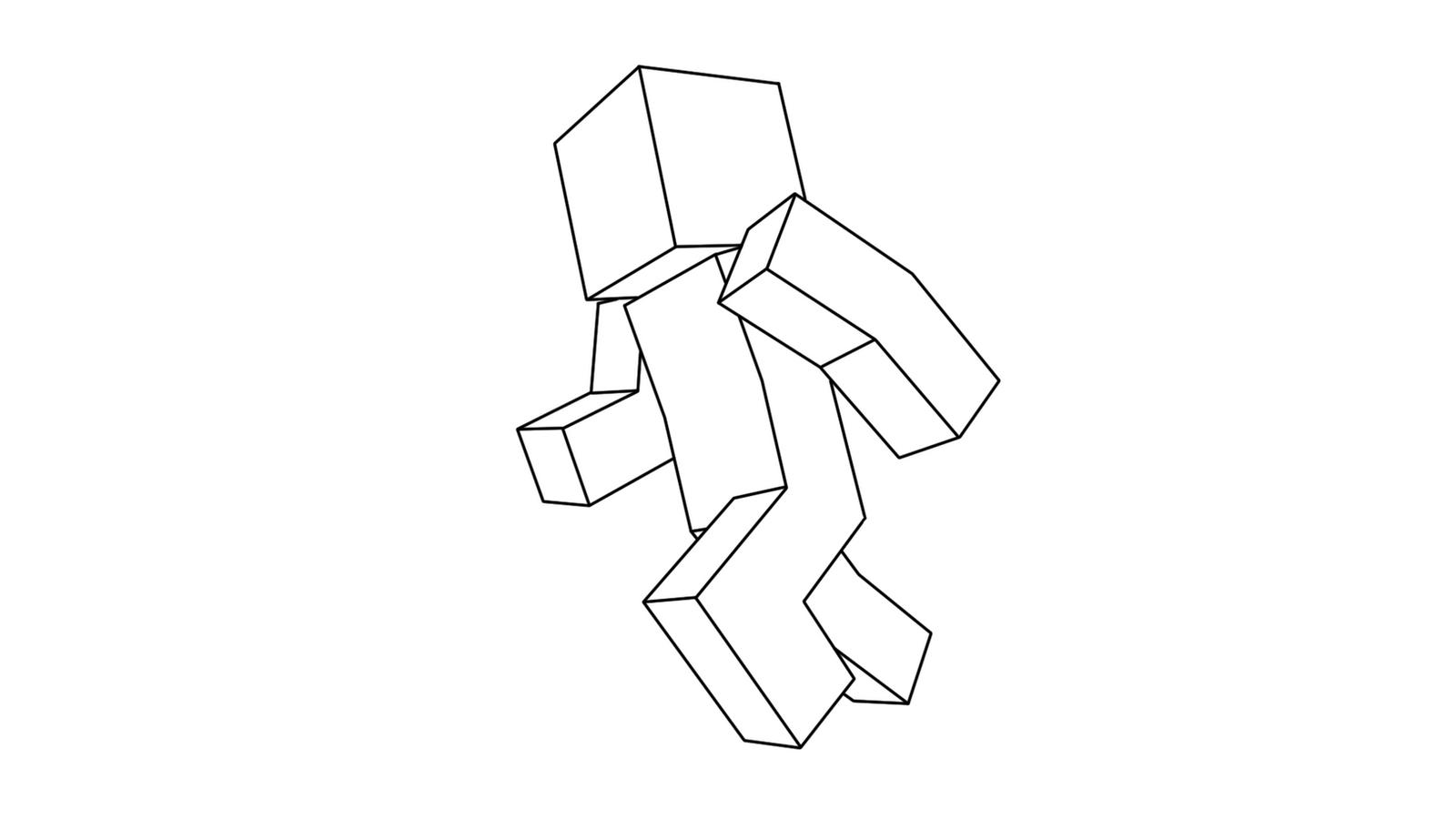 Minecraft Base Running White Background By