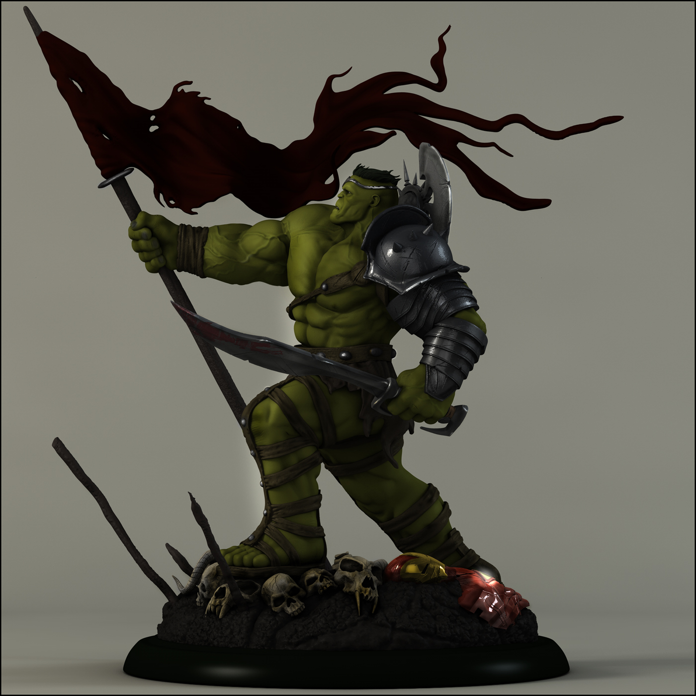 The Hulk prepares for war on Earth-Painted by AYsculpture
