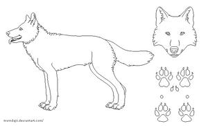 Free Lines: Wolf Pixeled by mwindajii