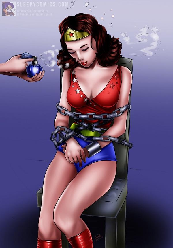 Wonder Girl - Gassed to Sleep and Chained! by sleepy-comics