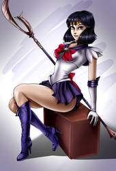 Sailor Saturn Pin Up - 2018 by sleepy-comics