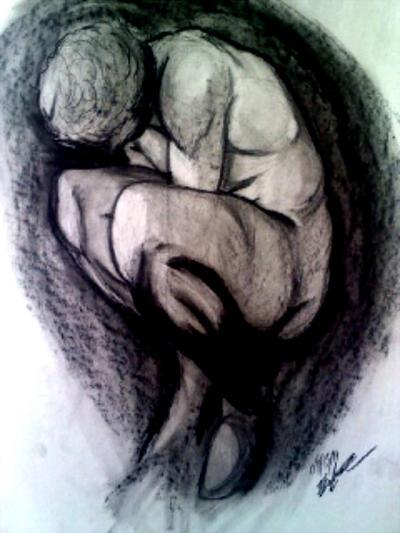 Michelangelo's crouching boy (Characoal version) by iMusicalMinji