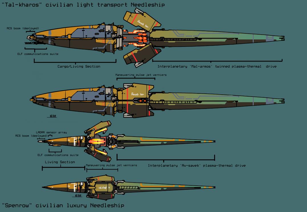 Civilian Needleships by Daemoria