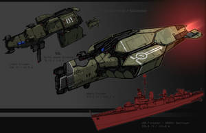 Commission - Warship designs by Daemoria