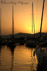 Sunset in the harbour of Split