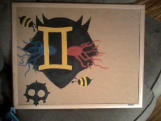 Corkboard painting: Sollux Captor by ThisKillsTheKarkat