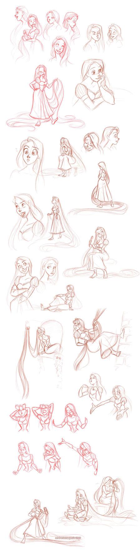 rapunzel sketchdump by...