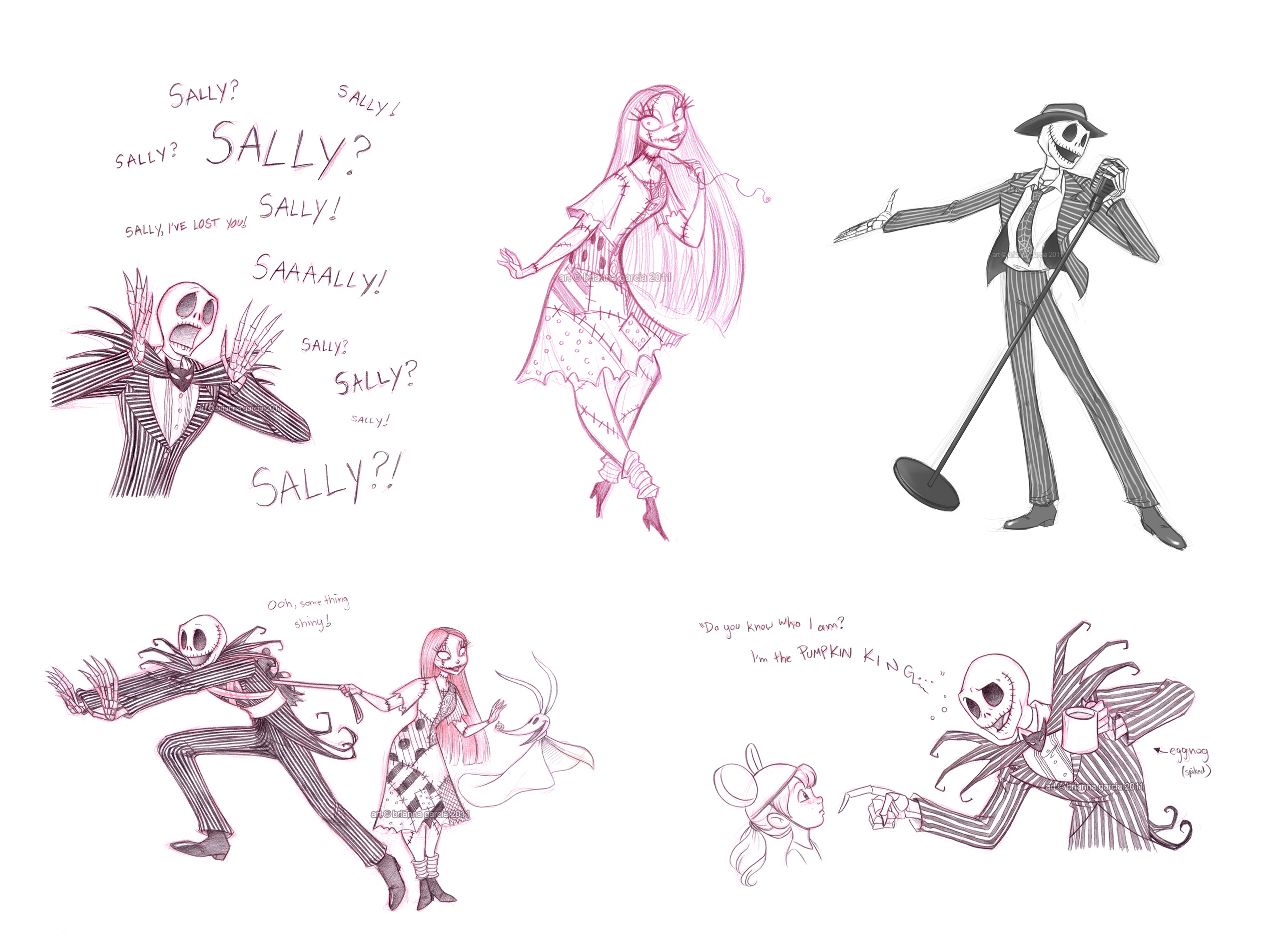 jack and sally sketchdump by briannacherrygarcia on deviantart