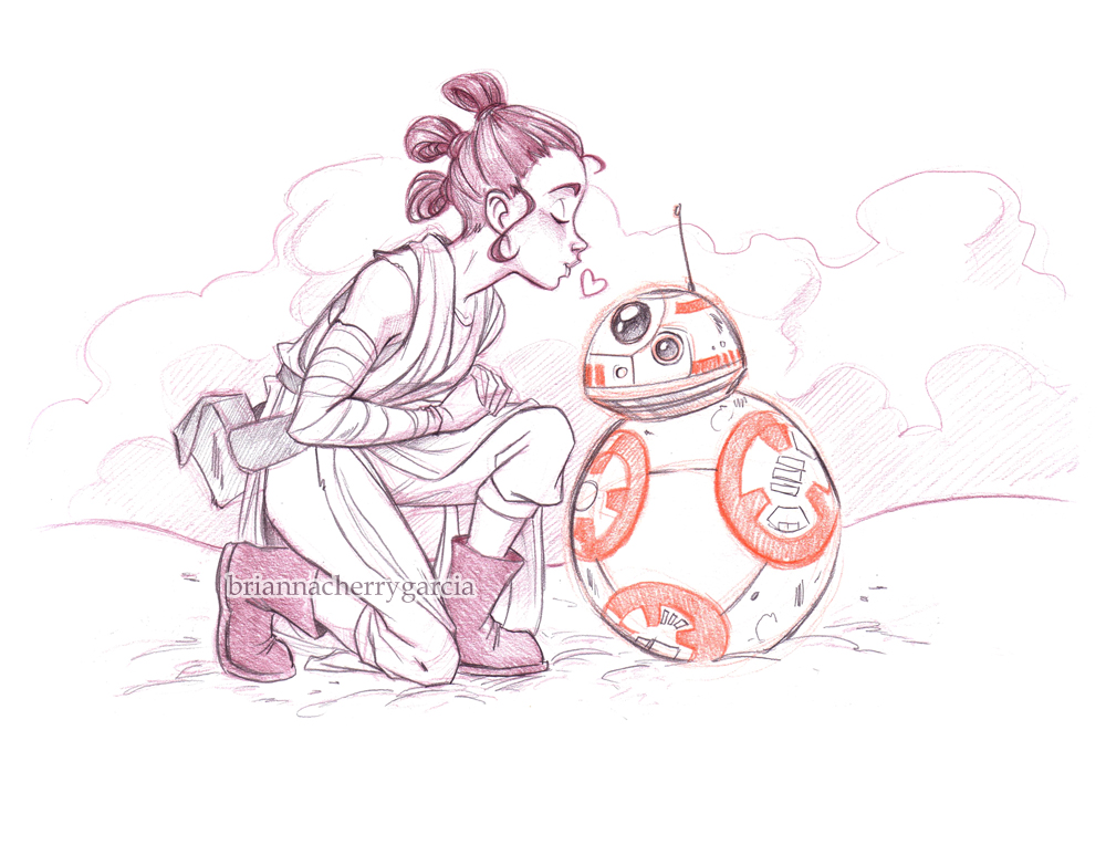 Rey and BB-8 by briannacherrygarcia
