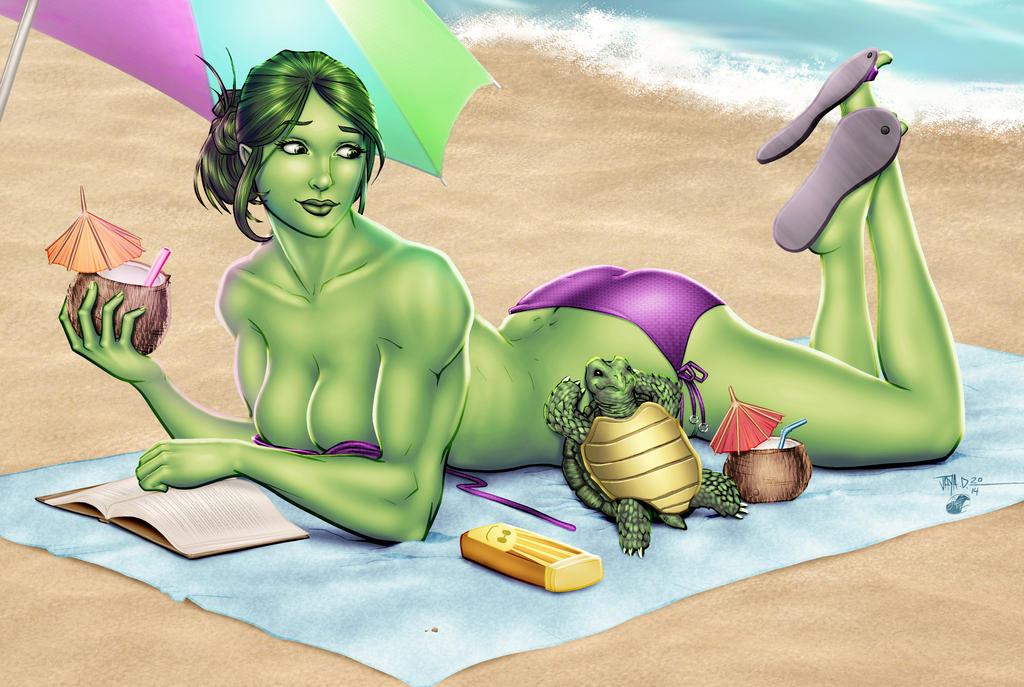 She-Hulk at the Beach by Harpokrates by cerebus873