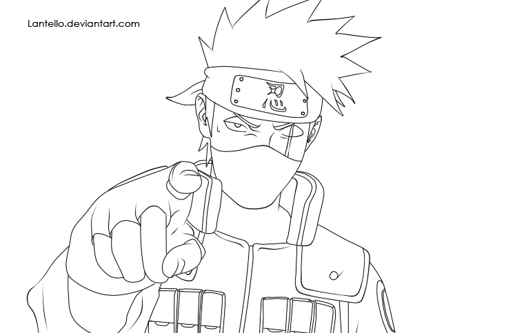 Kakashi Lineart : Naruto lineart kakashi by lantello on deviantart