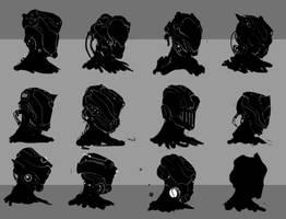 Sci fi helmet designs by Goottipoju