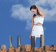 Giantess Emma Watson dressed in white. by Alberto62