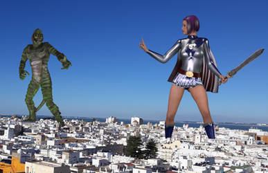 Giantess warrior vs giant monster by Alberto62
