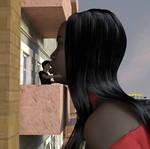 Black giantess kisses a little boy 4 by Alberto62