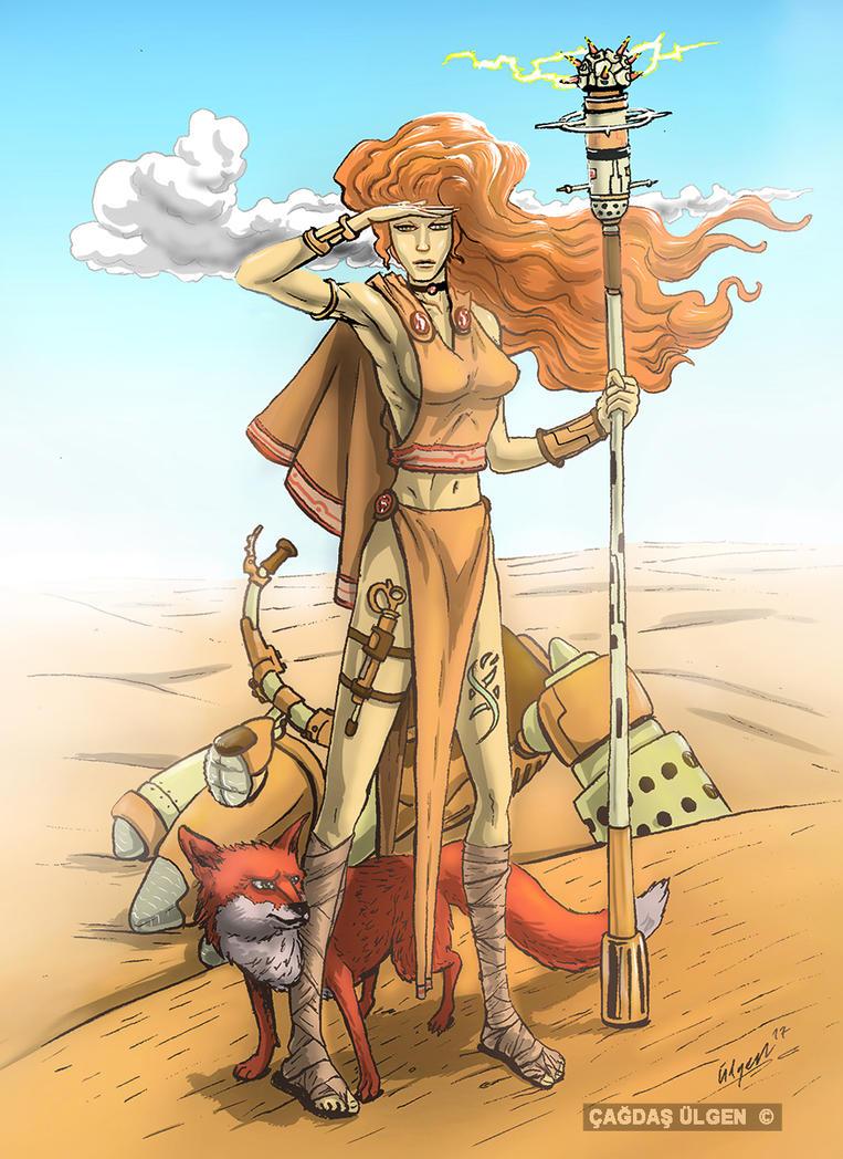 Desert Warrior Techno Shaman with Her Fox by cagdasulgen