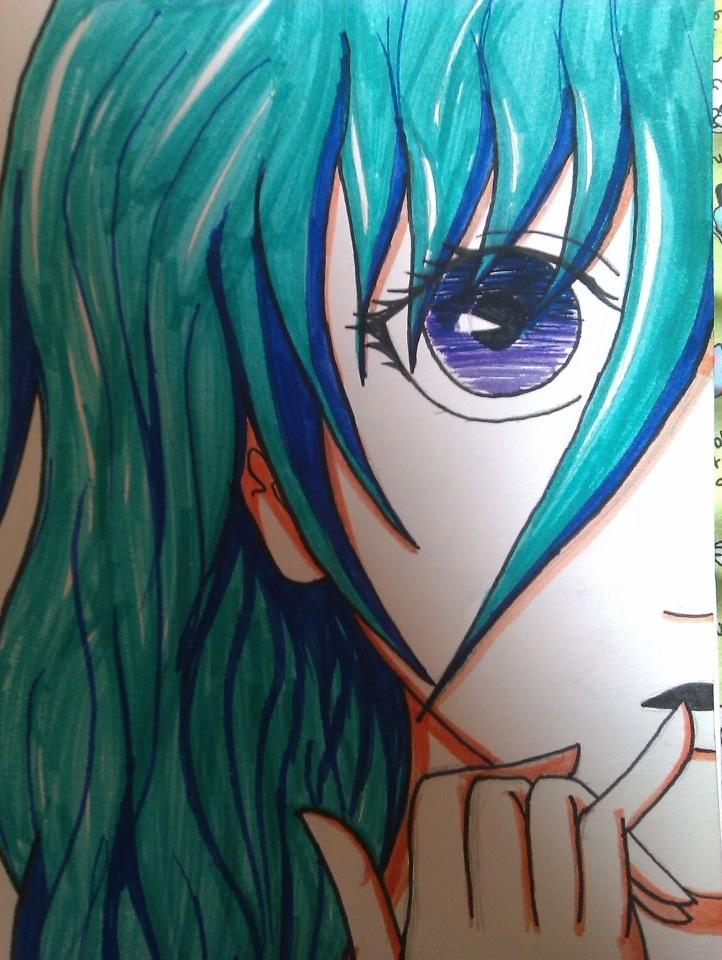 Blue hair anime girls