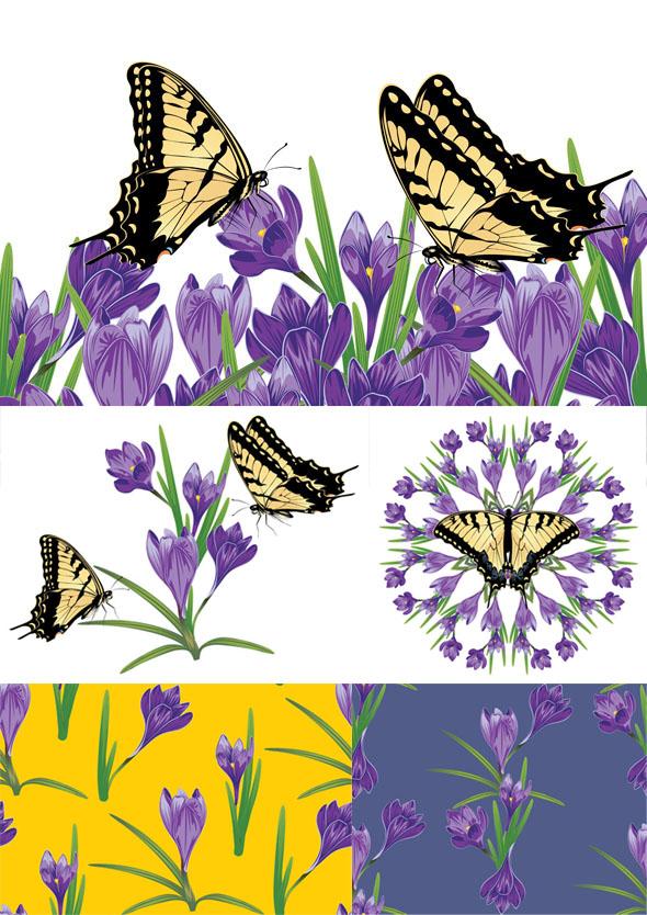 Purple Crocus Flowers by AnnArtshock