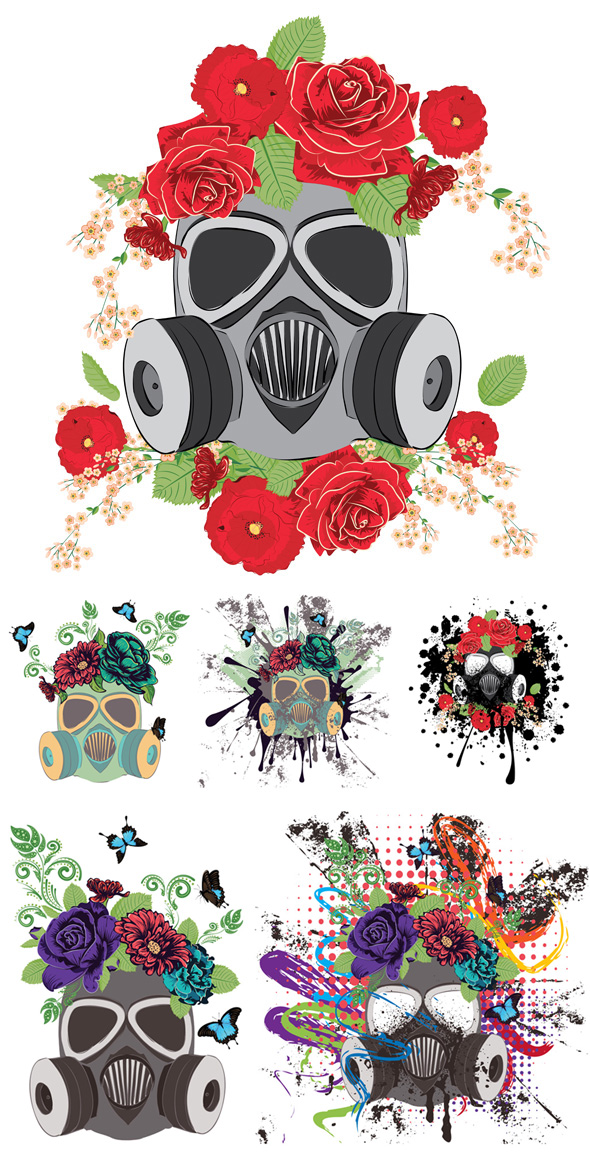 Gas Mask with Roses by AnnArtshock