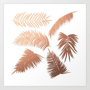 Rose gold palm leaves