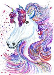 Fantasy unicorn watercolor by AnnArtshock