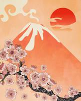 Branch of Sakura and volcano