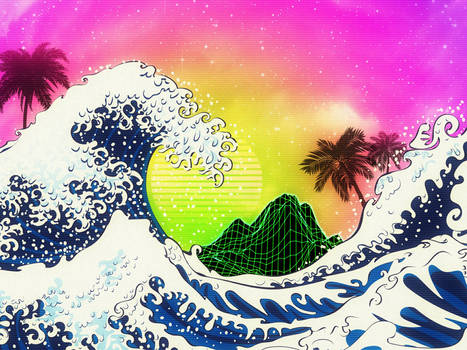 Ocean waves and palm trees and neon mountain