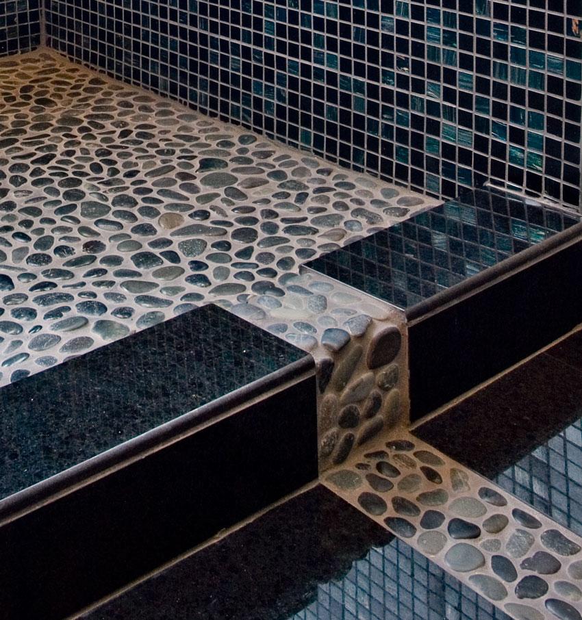 River Rock Floor In Bathroom Pictures
