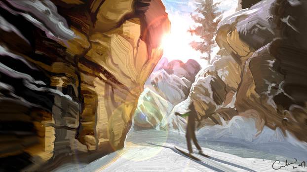 Sun ray between the rocks