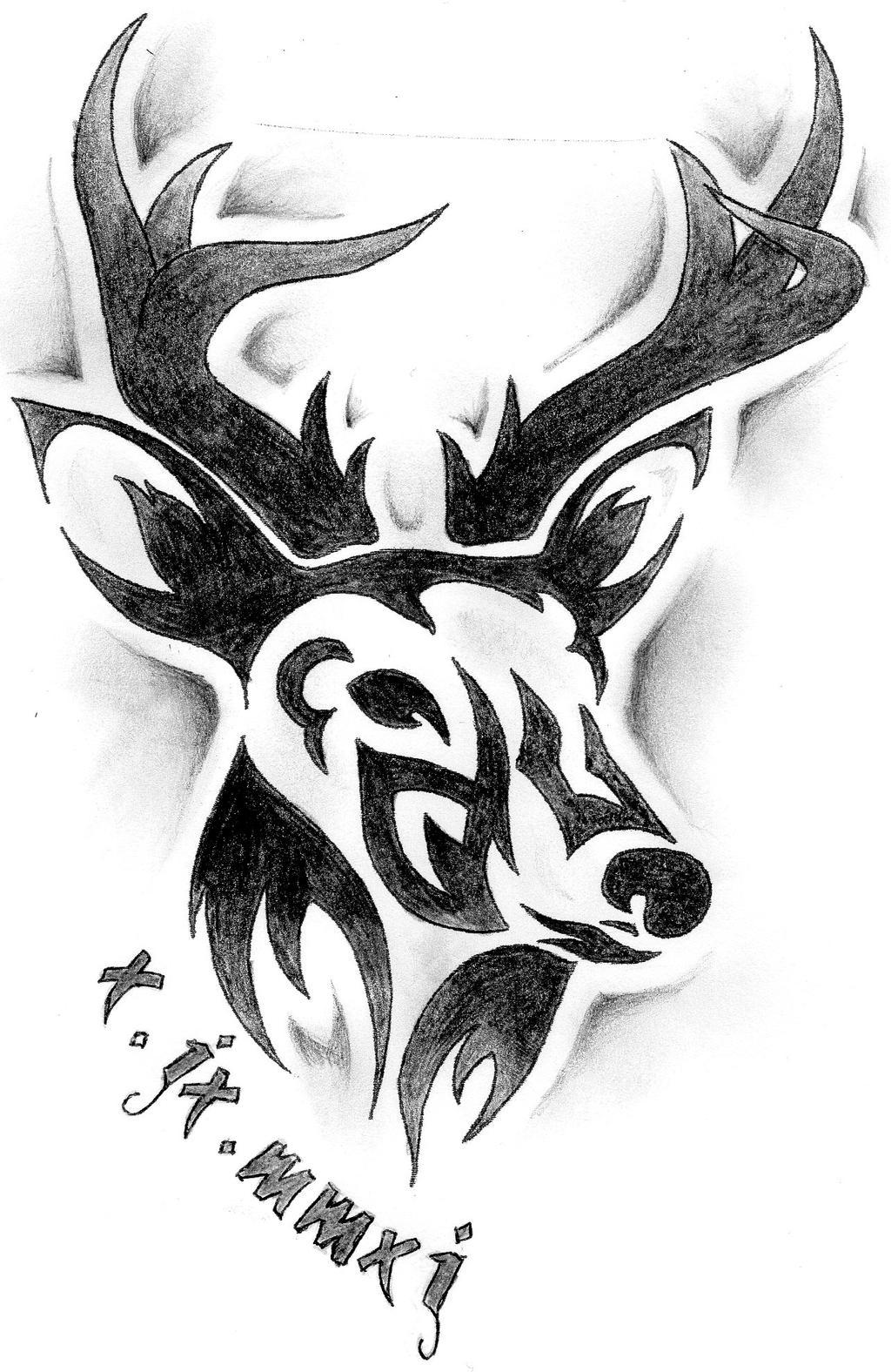 tribal deer tattoo design by sophiieesanity on deviantart. Black Bedroom Furniture Sets. Home Design Ideas