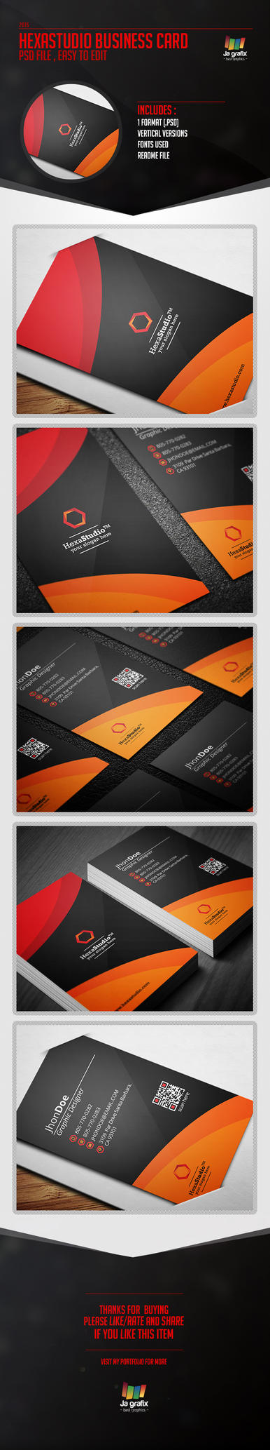 HexaStudio Business Card [PSD] by Ja-Ghraphics